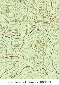 vector abstract topographical map with line contours of mountains, terrains and wood