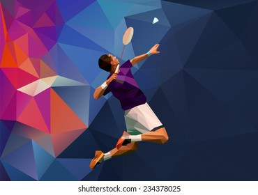 Vector abstract triangle polygon style male badminton player doing smash shot with space for poster, web, leaflet, magazine