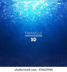 Vector Abstract triangle underwater background, abstract texture, blue water, abstract deep ocean sea background diving