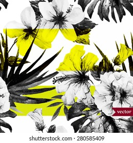 vector abstract tropical pattern, black and white with a yellow stripe