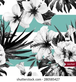 vector abstract tropical pattern, black and white with a blue stripe