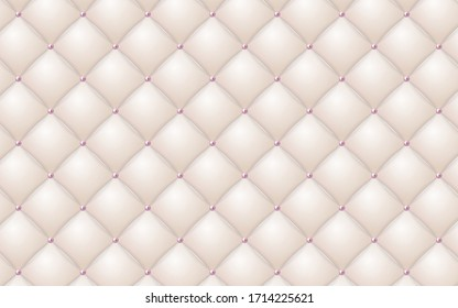 Vector abstract upholstery or cream leather texture sofa background and pearl for antique furniture decoration (close up)