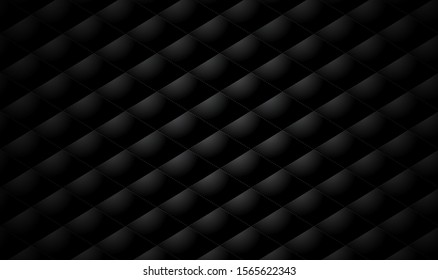 Vector abstract upholstery diamond or matte black leather texture sofa background