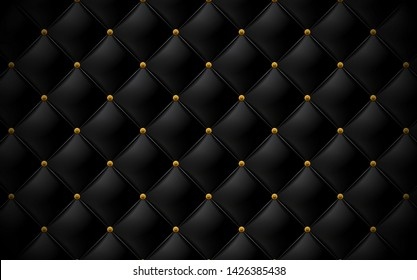 Vector abstract upholstery or matte black leather texture sofa background and antique bronze nails for antique furniture decoration flower head pattern (close up)