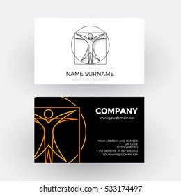 Vector abstract vitruvian man, science and geometry concept. Business card
