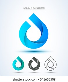 Vector abstract water drop logo design elements collection. 3 different styles