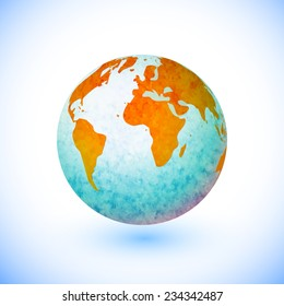 Vector abstract watercolor globe/earth design. Infographic element.