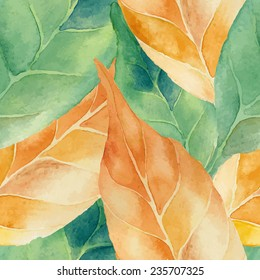 Vector abstract watercolor seamless background. Green and yellow leaves background. Can be used for web pages, identity style, printing, textile, cards, etc.