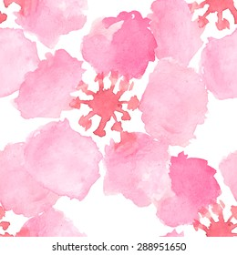 Vector abstract watercolor seamless pattern with sakura tree and rose flowers and leaves. Can be used for web pages, identity style, printing, invitations, banners.