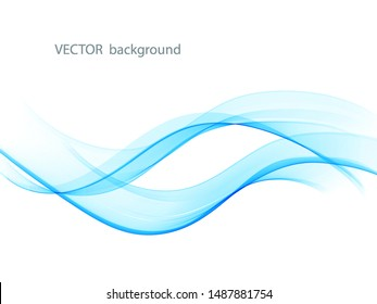 Vector abstract wave background. Blue waves on a white background.