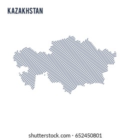 Vector abstract wave map of Kazakhstan isolated on a white background. Travel vector illustration.
