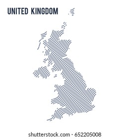 Vector abstract wave map of United Kingdom isolated on a white background. Travel vector illustration.