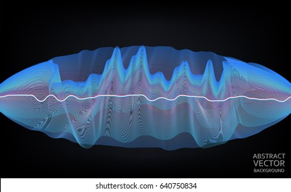 Vector abstract wave. Scientific theme Illustration. Gravitational field.