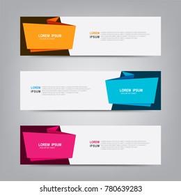 Vector abstract web banner design template. Collection of web banner template. Abstract geometric design banner web template on grey background. Header - landing page Web Design Elements