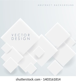 Vector Abstract white geometric shape from gray rhombus. Abstract 3d background with white paper geometric shapes, rectangle tile with drop shadows on white background. Minimal design.