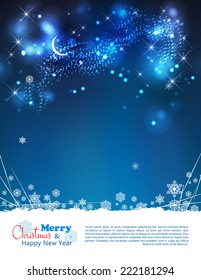 Vector abstract winter night background with moon, stars, night time sky, snowflakes, lights, text, bokeh effects, grunge elements
