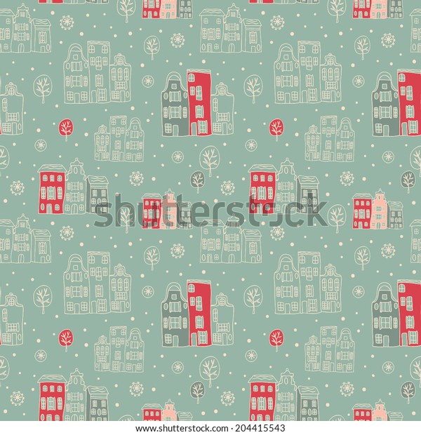 Vector abstract winter seamless pattern. Winter city. Winter holidays city.