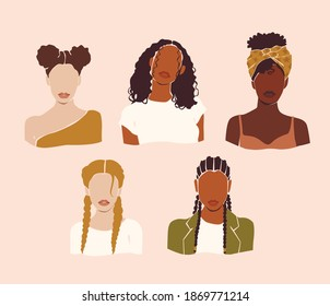 Vector abstract woman portraits. Girls face with stylish haircut on the pink isolated background. Beauty logo.