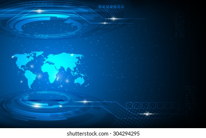 vector abstract world map hi tech innovation concept background