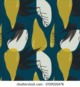 Vector abstract yellow and black leaves pattern on blue background