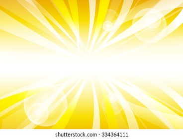 Vector : Abstract yellow stripe sun shine and empty space circle for text