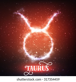 Vector abstract zodiac sign Taurus on a dark red background of the space with shining stars. Nebula in form of zodiac sign Taurus. Abstract glowing zodiac sign Taurus, The Bull (Greek: Tavros)