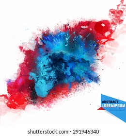 Vector abstraction from a mixture of colors, explosion, color spray, fly away, stains with a spray of water colors,the author's work.Background for banner, poster, identity,card, web design.