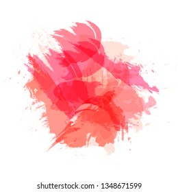 Vector Abtract Brush Strokes, Grunge Style, Background Colorful Template, Living Coral Color.