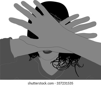 vector - abused woman, child,  covering face  hands