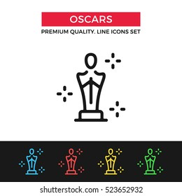 Vector Academy Awards icon. Oscar statuette. Premium quality graphic design. Modern signs, outline symbols collection, simple thin line icons set for websites, web design, mobile app, infographics