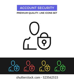 Vector account security icon. User protection, data security. Premium quality graphic design. Signs, outline symbols, simple thin line icons set for websites, web design, mobile app, infographics