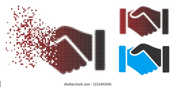 Vector acquisition handshake icon in fractured, pixelated halftone and undamaged whole variants. Disappearing effect involves rectangle dots and horizontal gradient from red to black.