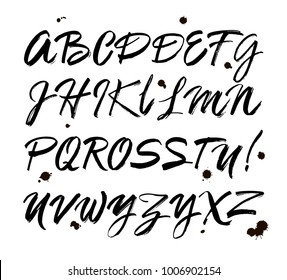 Vector Acrylic Brush Style Hand Drawn Alphabet Font. Calligraphy alphabet on a white background. Ink hand lettering.