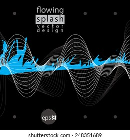 Vector acrylic contrast abstract spot, brush painted design element, graphic creative inky aerial illustration scanned and traced. Visual element with flowing lines.
