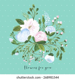 Vector acrylic illustration greeting card for Valentine's day, Women's Day, wedding, birthday, other holiday, cute summer bouquet. Floral element with acrylic flower bouquet on tiffany background