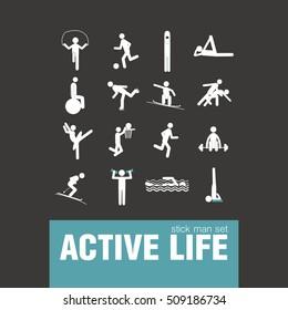 vector active lifestyle stick man set