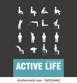 vector active warm-up exercises on chair stick man set