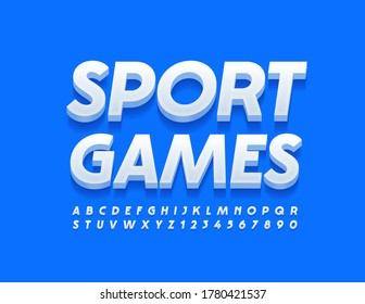 Vector activity banner Sport Games. 3D Modern Font. White Alphabet Letters and Numbers for Advertising