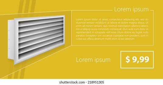 Vector ad layout for ventilation shutters. Mock up for gray ventilation shutters with price and example text. Flat vector illustration on yellow background. Louvers