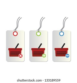 vector add delete shopping on white background