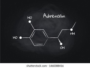 Vector adrenalin structure banner illustration. Hormone associated with adrenal response system and sport. White chalk lines isolated on black board background. Design element for pharmacy, education.
