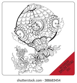 Vector adult coloring book page. Black and white contour coloring composition. Ink illustration  with decorative vintage balloon.