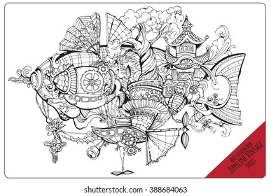 Vector adult coloring book page. Black and white contor coloring composition. Ink illustration  with decorative vintage zeppelin.