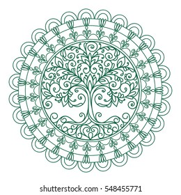 vector adult coloring, illustration, mandala, outline, tree, doodle style, element for design, medallion, tattoo
