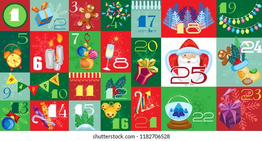 Vector Advent Calendar with Christmas Attributes and Christmas Ornaments. Background of cells of Christmas colors