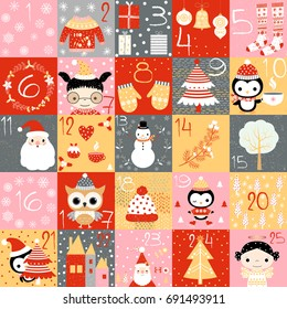 Vector advent calendar for Christmas with numbers and cute winter themed drawings in red, gold and grey colors