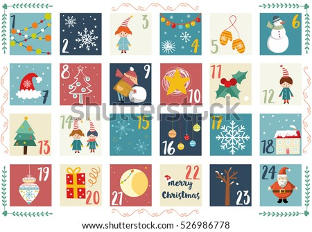 Vector Advent Calendar Christmas Poster Printable Stock Vector