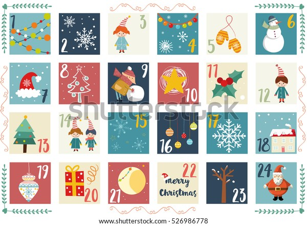 graphic relating to Advent Calendar Printable identify Vector Introduction Calendar Xmas Poster Printable Inventory