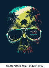 Vector Adventure graphic with a scary skull. Palm trees and sunset.