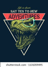 Vector Adventure graphic with t rex.